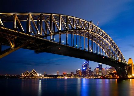 Sydney skyline night view wallpaper mural